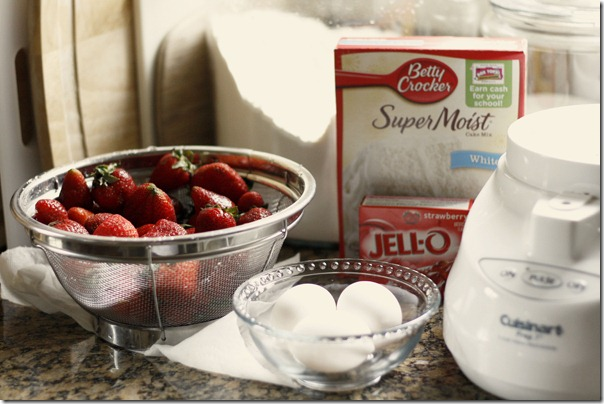 Strawberry cupcake starting with a box mix and using fresh strawberries