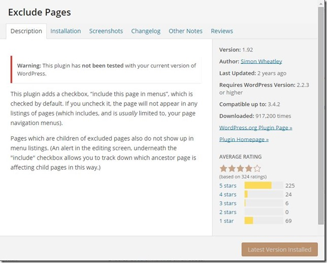 exclude pages