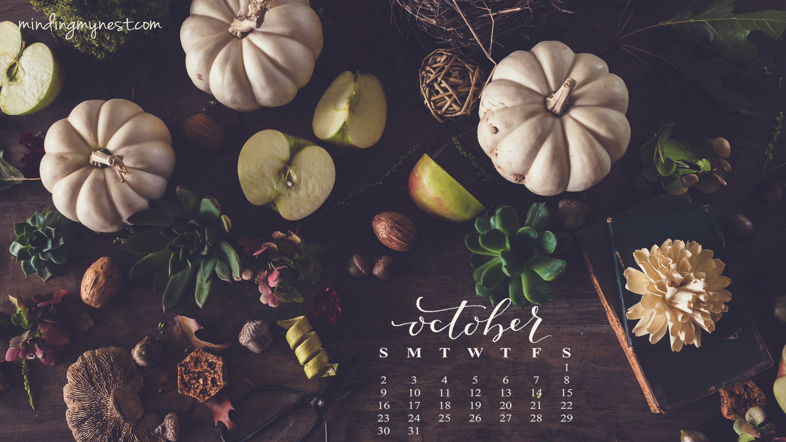 Wallpaper Calendar Oct : Desktop calendars minding my nest