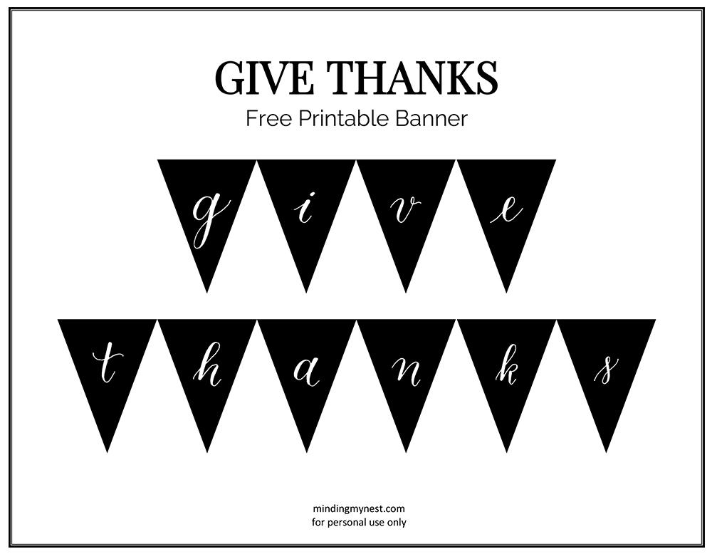 give thanks banner printable