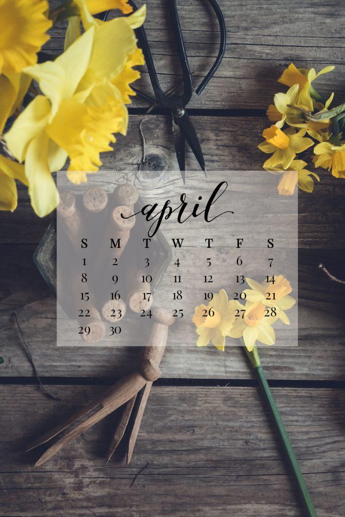 April 2018 Device Calendar